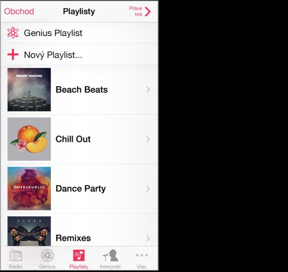 Obrazovka Playlisty. Vľavo hore je tlačidlo Obchod, vpravo hore tlačidlo Práve hrá. Vo vrchnej časti zoznamu sa nachádza Genius playlist a Nový playlist.