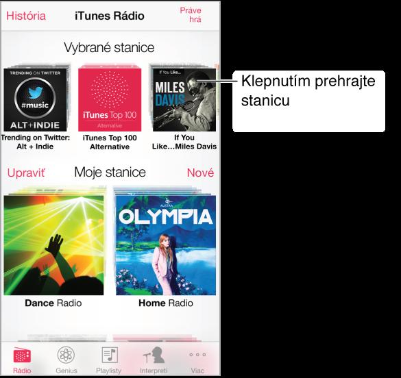 Obrazovka iTunes Rádia s tlačidlom História v ľavom hornom rohu. V blízkosti vrchnej časti obrazovky je rad vybraných staníc. Pod ním sa nachádzajú vami vytvorené stanice s tlačidlom Upraviť v strede ľavého okraja obrazovky.