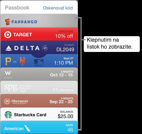 Aplikácia Passbook, v ktorej sú na obrazovke zobrazené vrchné časti niekoľkých lístkov.