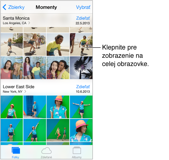 Zobrazenie Momenty v aplikácii Fotky. Vľavo hore je zobrazené tlačidlo Zbierky a vpravo hore tlačidlo Vybrať. V spodnej časti sa nachádzajú taby Fotky, Zdieľané a Albumy.