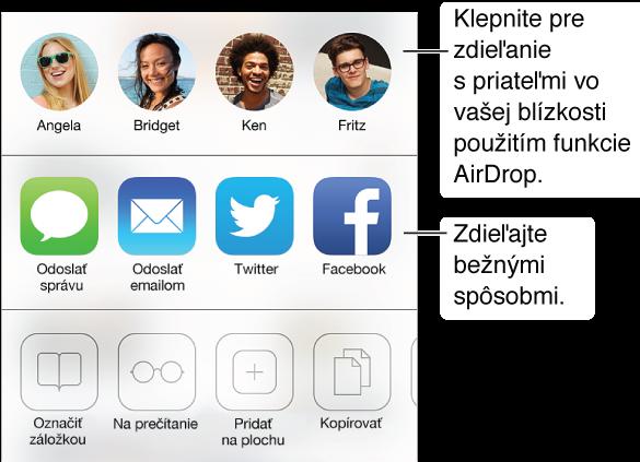 Klepnite na tlačidlo Zdieľať, ak chcete zdieľať informácie prostredníctvom služby AirDrop alebo aplikácií Správy, Mail, Twitter či Facebook, prípadne ak chcete pridať záložku, položku zoznamu Na prečítanie alebo skratku na domovskej ploche. Tlačidlo Zdieľať môžete použiť aj na kopírovanie alebo tlač stránky.