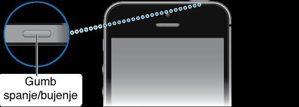 Zgornji del mobilnika iPhone s povečanim gumbom Vklop/izklop.