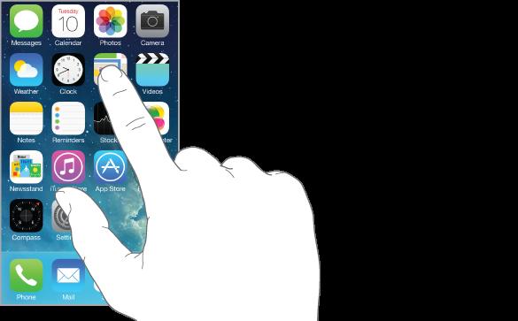 Prst, ki tapka aplikacijo.