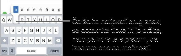 """Zaslon s prikazom alternativnih znakov za tipko """"e""""."""