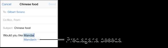 E-poštno sporočilo, ki prikazuje prvih nekaj besed novega sporočila, s predlaganim zaključkom besede, ki se vnaša.