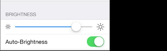 Drsnik za osvetlitev in nastavitve za vklop/izklop možnosti »Auto-Brightness«.