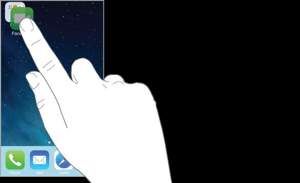 Prst, ki vleče aplikacijo nad drugo aplikacijo.