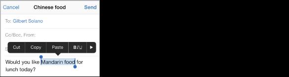 Vzorčno e-poštno sporočilo z izbranim delom besedila. Nad izbiro so gumbi za funkcije Cut, Copy, Paste, krepko/ležeče/podčrtano in za puščico desno. Izbrano besedilo je označeno, na vsaki strani pa ima točko prijema.