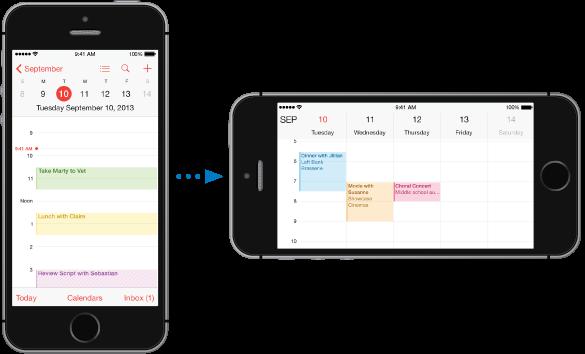 iPhone v pokončni orientaciji s koledarjem v dnevnem pogledu. Na desni je iPhone, ki je obrnjen po dolžini in prikazuje koledar v tedenskem pogledu.