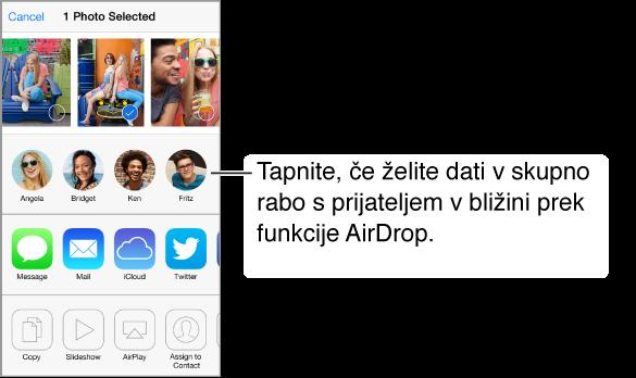 Seznam skupne rabe s fotografijami na vrhu, ki jih je mogoče izbrati. Spodaj se pojavijo obrazi bližnjih uporabnikov aplikacije AirDrop, pod njimi pa druge možnosti skupne rabe.