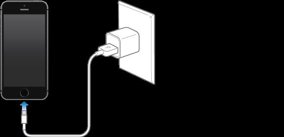 iPhone, povezan z napajalnikom.