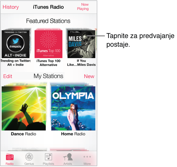 Zaslon aplikacije iTunes Radio z gumbom »History« v zgornjem levem kotu. Pri vrhu zaslona je vrsta obstoječih radijskih postaj. Spodaj so postaje, ki ste jih ustvarili, gumb »Edit« pa je na sredini ob levem robu zaslona.
