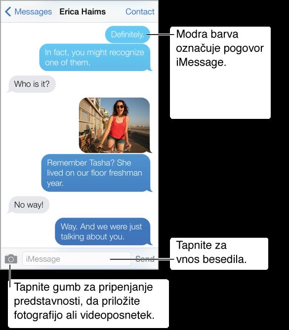 Sporočilni pogovor Na vrhu je naslovna vrstica z imenom osebe, ki ji pišete sporočilo, skupaj z gumboma »Messages« in »Contact«. Pod naslovno vrstico so besedilna sporočila, poslana in prejeta med pogovorom, ter fotografija iz pogovora. Na dnu zaslona so gumb za pripenjanje predstavnostnih datotek, polje za vnos besedila in gumb »Send«.