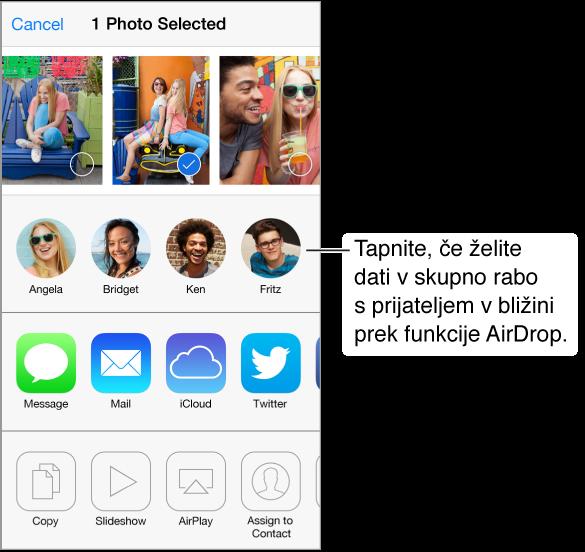 Zaslon za skupno rabo s fotografijami na vrhu, s prijatelji v bližini, ki uporabljajo aplikacijo AirDrop, in možnosti dajanja v skupno rabo. Druga dejanja se prikažejo na dnu.