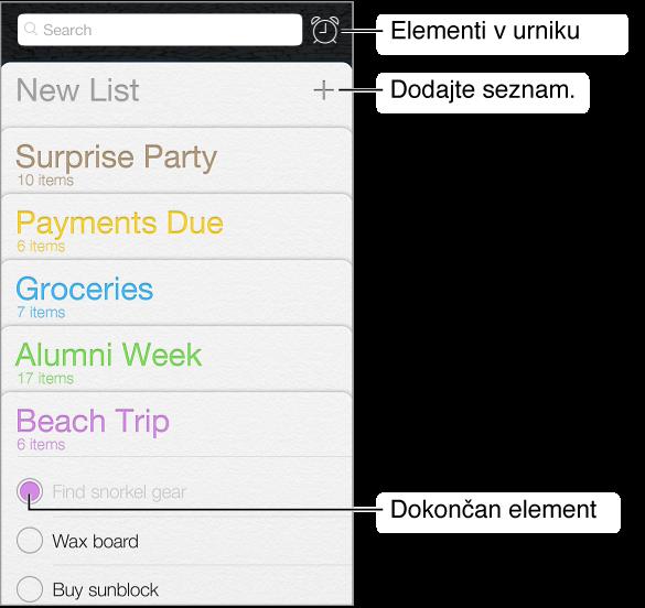 Aplikacija za opomnike. Gumb prikazuje opomnike z rokom. Dokončani elementi so označeni. Z možnostjo »New List« ustvarite nov seznam opomnikov.