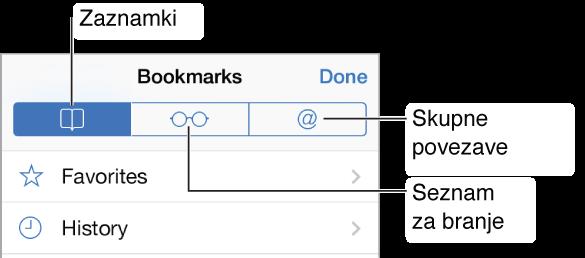 Tapnite gumb »Bookmarks«, če želite videti svoje zaznamke in zgodovino brskanja, svoj seznam branja in povezave v tvitih svojih znancev.