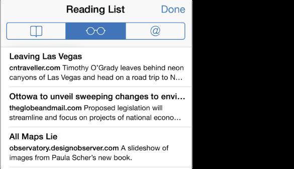 Če želite videti seznam strani, ki ste jih shranili, tapnite gumb Bookmarks in nato gumb Reading List.