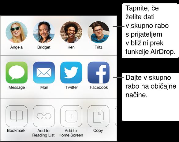 Tapnite gumb »Share«, če želite dati v skupno rabo, kar najdete z uporabo aplikacij AirDrop, Message, Mail, Twitter ali Facebook ali dodajte zaznamek na seznam branja ali bližnjico do domačega zaslona. Gumb »Share« uporabite tudi, če želite kopirati ali natisniti stran.