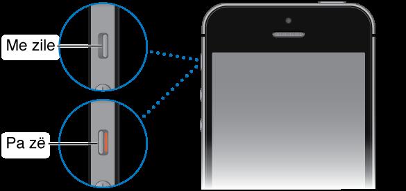 Pjesa e sipërme e iPhone me dy pamje nga afër të çelësit Zile/Heshtje, njëra që tregon çelësin e vendosur në zile (pra, drejt pjesës së përparme të iPhone) dhe tjetra që tregon çelësin e vendosur në heshtje (drejt pjesës së pasme të iPhone, me shiritin portokalli të dukshëm në çelës).