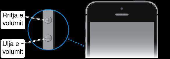 Pjesa e sipërme e iPhone me një pamje nga afër të butonave Ngritje e volumit dhe Ulje e volumit.