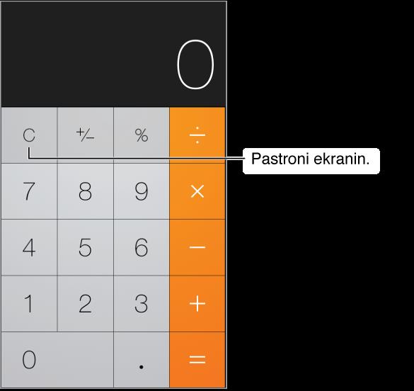 Pamja e Calculator që tregon funksionet standarde dhe tastierën numerike. Prekni tastin Clear për të hequr rezultatet.