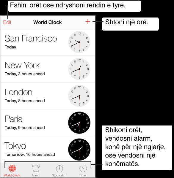 Ekrani World Clock, me butonin Edit në këndin e majtë lart, si dhe butonin e orës Add në këndin e djathtë lart. Pesë shirita blu horizontalë tregojnë kohën në pesë qytete të ndryshme në botë. Përgjatë pjesës së poshtme, nga e majta në të djathtë, ndodhen dritaret World Clock, Alarm, Stopwatch dhe Timer.