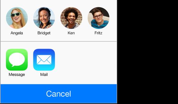 Paneli i ndarjes, që tregon personat brenda rrezes për AirDrop, dhe butonat për ndarjen duke përdorur Messages ose Mail.