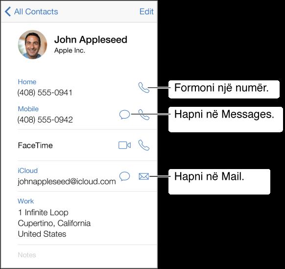 Ekrani i informacionit për një kontakt. Prekni një hyrje, si p.sh. adresë emaili ose uebsajt, për ta hapur.
