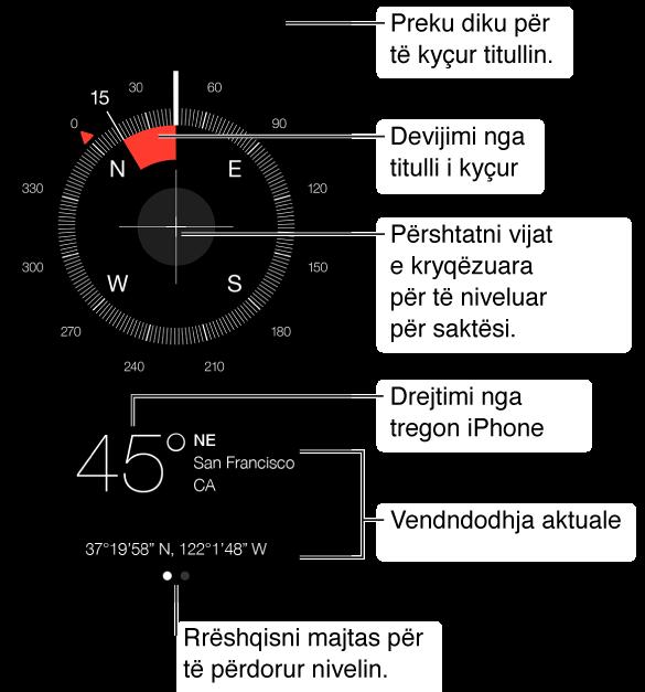 Compass ju tregon drejtimin nga drejtohet iPhone. Për të gjetur drejtimin nga jeni drejtuar, mbajeni iPhone të shtrirë dhe drejtojeni larg jush, me butonin Home më pranë jush. Për të përdorur niveluesin, rrëshqisni në faqen e dytë.