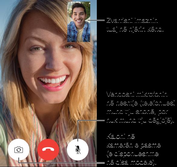 Ekrani FaceTime që tregon një thirrje që në proces dhe fytyrën e telefonuesit që mbush shumicën e ekranit. Imazhi juaj ndodhet në pjesën djathtas lart. Në pjesën e poshtme, nga e majta në të djathtë, ndodhen butonat Switch Camera, End dhe Mute.