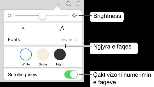 Menyja e paraqitjes që tregon kontrollet për ndriçimin, ngjyrën e faqes dhe pamjen e lëvizjes.