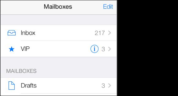 Ekrani Mailboxes që tregon kutinë Inbox dhe një kuti VIP me një yll pranë saj. Në Inbox ka 217 mesazhe dhe në VIP 3 mesazhe. Kutia postare Drafts ndodhet në fund.