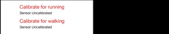 Në mes poshtë ekranit të stërvitjes ndodhen dy butonat për kalibrim, kalibrimi për vrapimin dhe poshtë tij kalibrimi për ecjen.