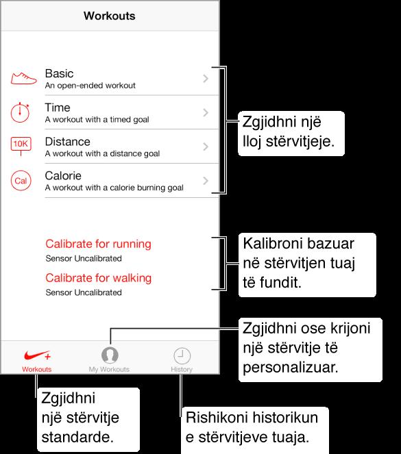 Për të filluar, zgjidhni llojin e stërvitjes. Duke u nisur nga lart, është Basic, stërvitja e pakufizuar; stërvitja e kufizuar në kohë; elementi Distance i stërvitjes dhe elementi Calorie. Në mes poshtë ekranit ndodhen dy butonat për kalibrim, kalibrimi për vrapimin dhe kalibrimi për ecjen. Përgjatë fundit të ekranit ndodhen tre butona: Workouts, My Workouts dhe History.