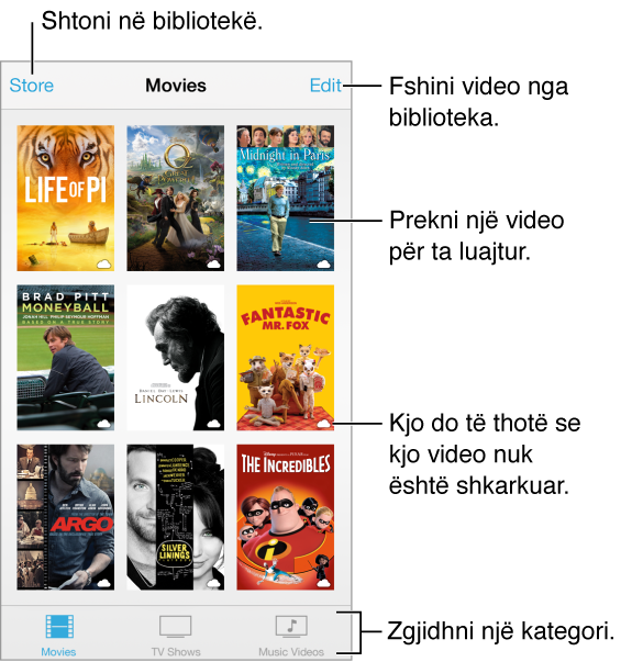 Prekni një video për ta luajtur. Zgjidhni nga skedat e kategorisë së videos në fund të ekranit. Prekni butonin Store për ta shtuar në bibliotekë. Prekni butonin Edit për të fshirë videot.