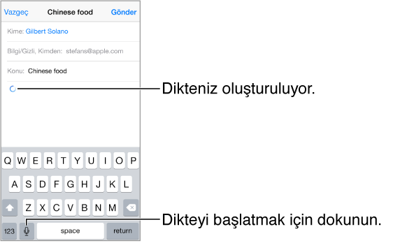Oluşturulan bir e-posta iletisi. Dairesel ok, dikte edilen metnin nereye yerleştirileceğini gösterir. Dikte tuşu, klavyede boşluk çubuğunun hemen solunda görünür.
