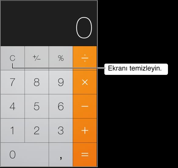 Standart fonksiyonları ve sayısal tuş takımını gösteren hesap makinesi ekranı. Sonuçları silmek için Sil tuşuna dokunun.