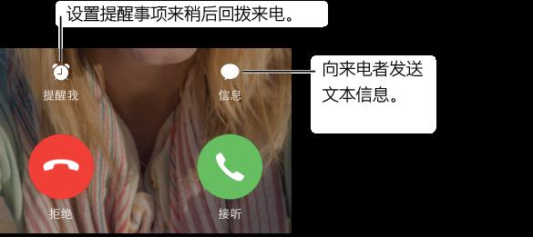 """带有按钮的呼入电话屏幕。 顶行从左到右: """"提醒我""""按钮、""""信息""""按钮。 底行从左到右: """"拒绝""""按钮和""""接听""""按钮。"""
