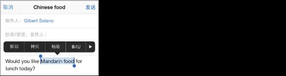 """一个电子邮件示例,其中一些文本已被选定。 所选内容上方是""""剪切""""、""""拷贝""""、""""粘贴""""、粗体/斜体/下划线以及右箭头按钮。 所选文本会高亮显示,有抓取点位于任一端。"""