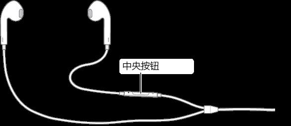 耳机,其中央按钮位于右侧耳罩的耳机线上。