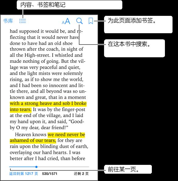"""打开的图书页面。 顶部从左到右是""""书库""""按钮、目录按钮、外观按钮、搜索按钮,以及添加书签按钮。 底部是页面选取器控制。"""