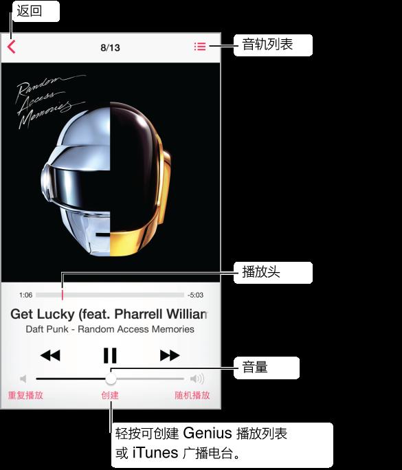 """""""播放中""""屏幕。 """"返回""""按钮位于左上角;""""音轨列表""""按钮位于右上角。 专辑插图下面是带播放头的搓擦条。 歌曲和专辑的名称显示在搓擦条下方。 沿着底部是""""回放""""控制。 底部是""""重复播放""""、""""创建""""和""""随机播放""""按钮。 轻按""""创建""""按钮以创建""""Genius 播放列表""""或 iTunes Radio 电台。"""