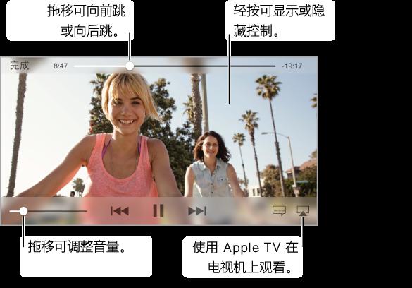 若要使用回放控制,请在观看时轻按屏幕。 顶部中央是跟踪位置滑块,带有可以拖移以向前跳或向后跳的播放头。 已经过的时间和剩余时间分别位于跟踪位置滑块的两边。 如果视频没有适应屏幕大小,全屏幕按钮会出现在右上角。 视频回放控制出现在底部中央。