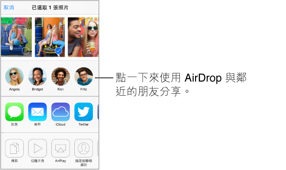 分享表單,最上方有照片可供選取。 周遭 AirDrop 使用者的面孔會出現在下方,且在其下方有其他分享選項。