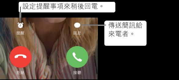 帶有按鈕的來電螢幕。 頂端列,從左到右: 「提醒」按鈕、「訊息」按鈕。 底部列,從左開始: 「拒絕」按鈕和「接聽」按鈕。