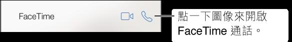 裁切過的「聯絡資訊」螢幕,包含 FaceTime 視訊和語音通話按鈕。