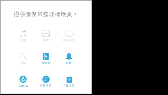 「更多」螢幕的一部分,包含您可重新排列位置的圖像。 藍色圖像可被拖移至灰色上方,以讓其更加醒目。 灰色圖像為「音樂」、「電影」、「電視節目」和「搜尋」。 藍色圖像為「有聲書」、「鈴聲」、Genius、「已購項目」和「下載項目」。