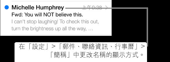 顯示 5 行文字的郵件預覽畫面。