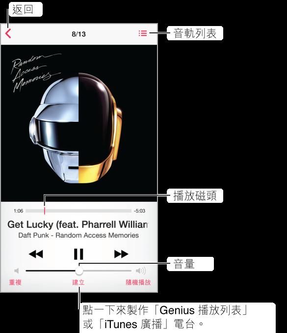 「播放中」螢幕。 「返回」按鈕在左上角;「音軌列表」按鈕在右上角。 專輯插圖下方是時間列和播放磁頭。 歌曲名稱和專輯會顯示在其下方。 沿著底部則是「播放」控制項目。 在底部依序是「重複」、「製作」和「隨機播放」按鈕。 點一下「製作」按鈕來製作「Genius 播放列表」或 iTunes Radio 電台。