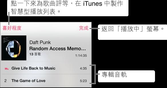 部分的「音軌列表」螢幕顯示目前專輯封面的音軌。 點一下「喜好程度」按鈕來為歌曲評分,以便在 iTunes 中製作智慧型播放列表。 點一下「完成」來返回「播放中」螢幕。